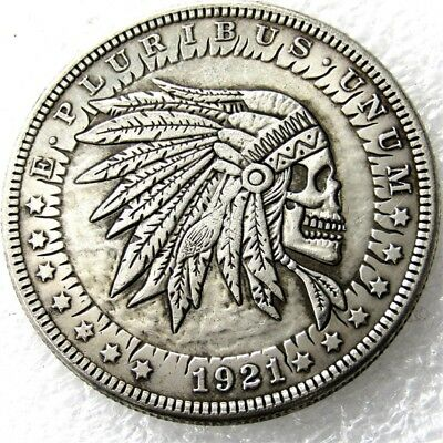 US Hobo 1921 Morgan Dollar skull zombie skeleton Creative Coin