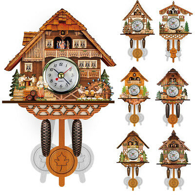 Vintage Wood Cuckoo Wall Clock Tree House Bell Swing Art Home Decor Xmas Gift