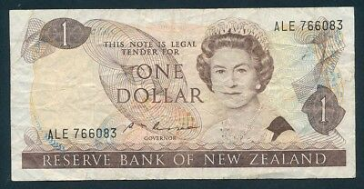 "New Zealand: 1985 $1 Russell QEII Portrait SCARCE WORD PREFIX ""ALE"". Pick 169b F"