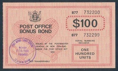 "New Zealand: 1982-84 $100 ""RARE P.O. BONUS BOND"". Cashable @ $100"
