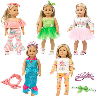 8pcs Fashion Unicorn Clothes Outfits for 18 inch Girl Doll Dress Pajamas Skirt