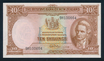 "New Zealand: 1960 LAST ISSUE 10/- Fleming ""SECURITY THREAD"". P158d AUNC Cat $130"