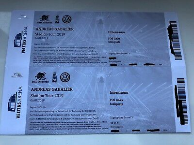 2x Andreas Gabalier Tickets 06.7.19 Front Of Stage Links Gelsenkirchen