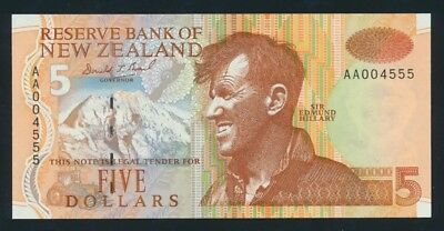 "New Zealand: 1992 $5 Brash RARE 1ST PREFIX + LUCKY NO.""AA 004555"". P177a UNC"