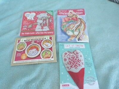 **Four Christmas Cross Stitch Kits - Margaret Sherry Brooch Decoration**