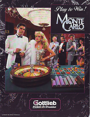 Gottlieb Premier MONTE CARLO '86 Original NOS Flipper Game Pinball Machine Flyer