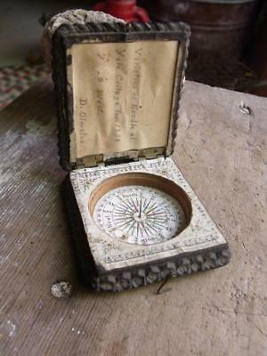 Antique 19th Century Compass With Gutta Percha Case & Story to Tell! D Olmstead