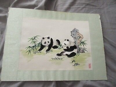 Vintage Chinese Hand Stitched Panda Signed Panel..painting   ..