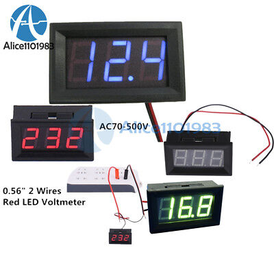 "DC 5V-30V/120V AC 70-500V 2/3 Wires 0.56"" Red/Green/Blue LED Digital Voltmeter"