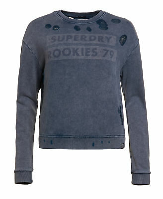 New Womens Superdry Factory Second Distress Boxy Sweatshirt Washed Fret Blue
