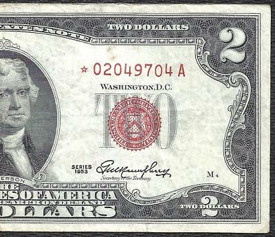 1953 $2 RED Seal *STAR* Legal Tender ~UNITED STATES NOTE~ Old US Paper Money!