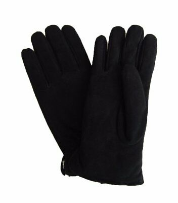 NWT GRANDOE Men's Genuine Leather Suede Fleece Lined Sensor Touch Gloves, Black