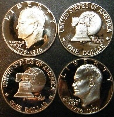 1976 S Eisenhower Dollar Type 1 & 2 Gem Cameo Clad Proof 2 Coin Ike Set US Mint