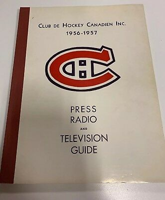 Tv Guide Montreal >> Very Rare Vintage 1956 57 Montreal Canadiens Press Radio Tv Guide