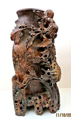 """Large 9"""" Hand Carved Antique Chinese Incised Red Brown Floral Soapstone Vase"""