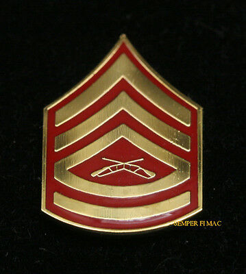 Gunnery Sergeant Gysgt E-7 Rank Cheveron Lapel Hat Pin Up Us Marines Veteran Wow