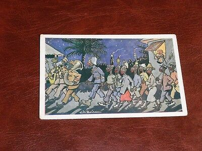 Original Ch. Bourau Signed French Ethnic Postcard - Night Parade.