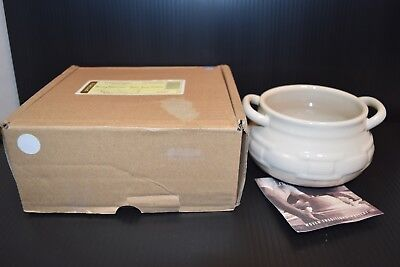 NEW Longaberger Pottery Ivory White Woven traditions Small Soup Tureen Bowl