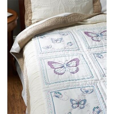 "Bucilla Stamped Embroidery Quilt Blocks 15""x15"" 6/pkg-butterfly"