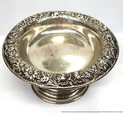 Antique S Kirk Son Inc Sterling Silver 925-1000 Mark Repousse Candy Nut Dish