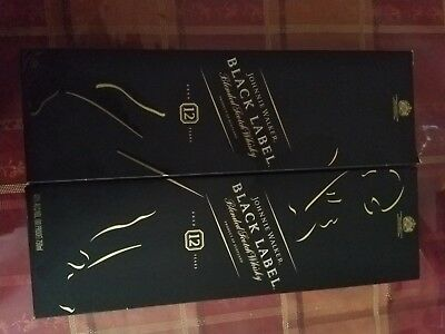 TWO Empty Johnnie Walker Black Label Bottle Whisky With Mint Condition Box