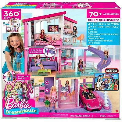 2018 Barbie Dreamhouse Playset with 70+ Accessory Pieces, New/Unopened.