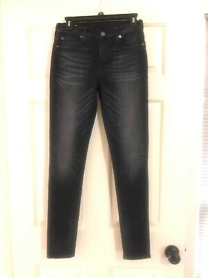 True Religion Halle Mid Rise Super Skinny Jeans 26 Black Wash