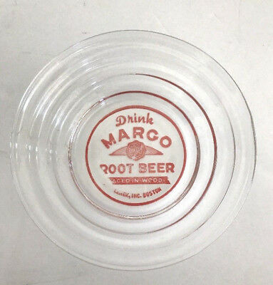 """rare MARGO Root Beer Advertising ASHTRAY clear Glass 4"""" round 1"""" tall ROOTBEER"""