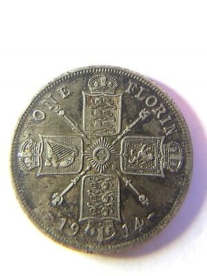 George V 1914 Florin British two shilling coin