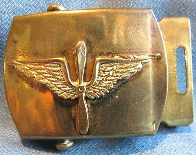 WWII US Army Air Corps serviceman's brass belt plate with early branch device