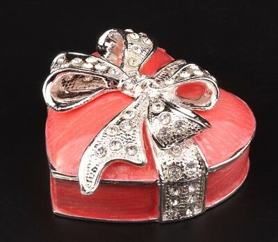 Unique Metal Jewelry Box Statue Heart Bow Inlaid Rhinestone Decorate Lady'S Gift