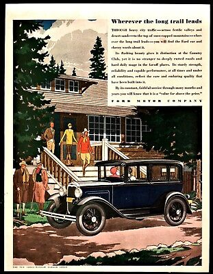 1930 FORD Three-Window Sedan Antique Car AD