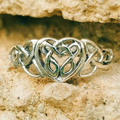 .925 Sterling Silver Ring Heart Celtic Midi Ladies size 4-11 Thumb Knuckle New