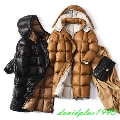 Womens Down Jackets Hooded White Duck Warm Windproof Puff Padded Down Overcoats