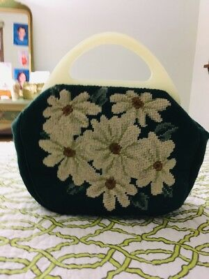 handmade vintage clutch purse great condition, gold satin interior ( tiny stain)