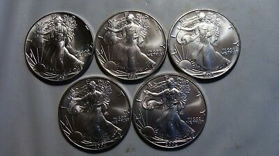Lot of (5) CH UNC American Silver Eagles