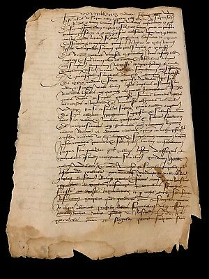 MEDIEVAL TEXT FRAGMENT ca 1400s