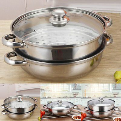 Steamer Cooker Pot Set Stainless Steel Pan Cook Food Glass Lid Large