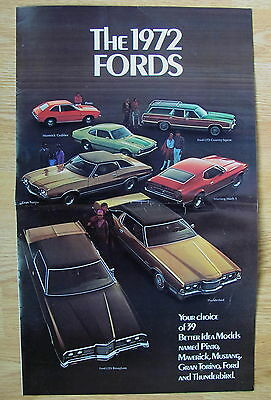 1972 FORD Sales Dealer Brochure Advertisment Full 8 Page Color New Model Guide