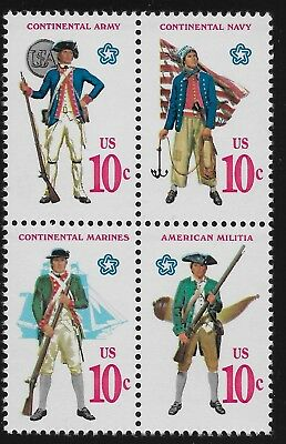 US Scott #1565-68, Block of 4 1975 Military Uniforms 10c VF MNH