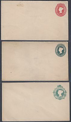 CANADA 1890's THREE MINT QUEEN VICTORIA POSTAL COVERS 3 DIFFERENT DESIGNS ONE