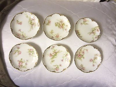 6 Antique Haviland Limoges Porcelain Butter Pats Pink Roses w/ Gold Trim France