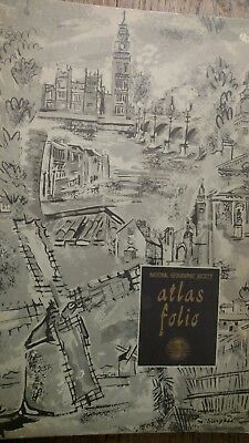 Atlas folio National Geographic society 1958 oversized sc 16 x 14 in for maps