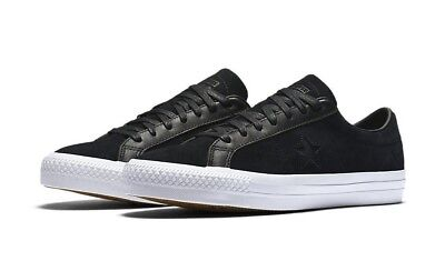 318bdf51fd2 Converse Cons One Star Pro Black Rub Off Leather Low Top Sneaker 155524C