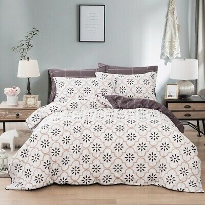 Checked Quilt Doona Duvet Cover Set Double/Queen/King Size Bedding Pillow Cases