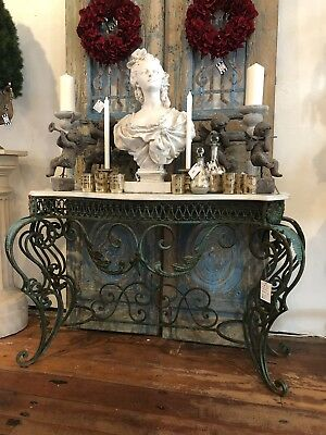French Style Vintage Wrought Iron & Marble Console Indoor Or Outdoor Table
