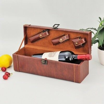 Pu Leather Wine Bottle Holder With 3 Wine Bar Tools And Accessories Gift Box