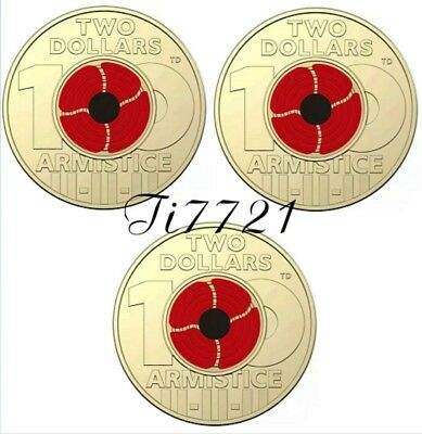 3× 2018 Remmberance Day-Armistice Centenary (Red Poppy) 2 coin-from RAM bag