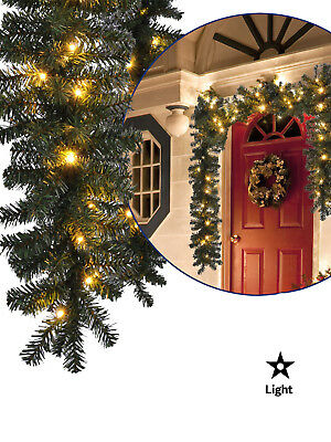 5m Pre Lit Pine Garland Warm White 80 LED Lights Christmas Decoration Mantle