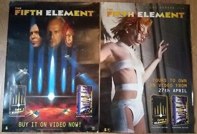 Fifth Element Set of 2 Promo Video Release Posters Bruce Willis Milla Jovovich